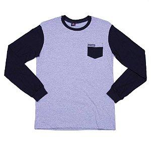Camiseta Manga Longa Cinza Claro Com Bolso E Manga Diferenciada - INFANTIL