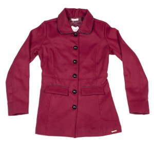 Casaco Feminino Trench Coat Bordô Com Botões E Bolsos Frontais