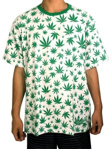 Camiseta Cannabis Branca e Verde Full Hemp Ray Brown