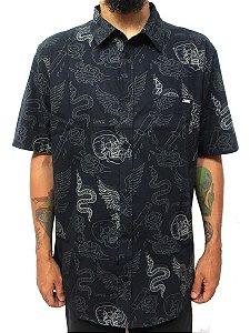 Camisa Chronic 420 Masculina Tattoo Old School Caveira Preto