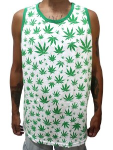 Camiseta Regata Cannabis Branca e Verde Full Hemp Ray Brown