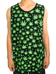Camiseta Regata Cannabis Preta e Verde Full Hemp Ray Brown