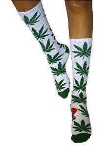 Meia Cannabis Maconha Cano Alto Ganja Branca Verde Ray Brown