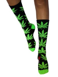 Meia Cannabis Maconha Cano Alto Ganja Preto Verde Ray Brown