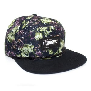Boné Chronic Five Panel Floral Preto Vintage