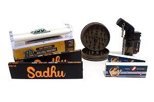Kit 2 Sedas Sadhu + 2 Piteiras + Bolador + Dichavador Fibra Coco + Isqueiro