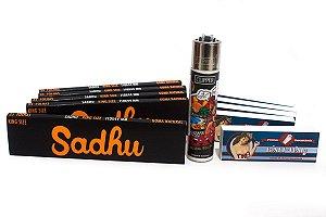 Kit 5 Sedas Sadhu + 5 Piteiras + Isqueiro Clipper Raw