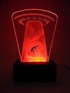 Luminária de Mesa Led Acrílico Disco Voador Bivolt Vermelho