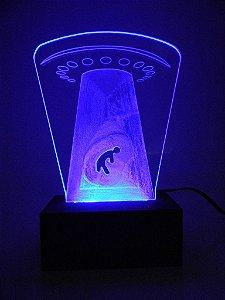 Luminária de Mesa Led Acrílico Disco Voador Bivolt Azul