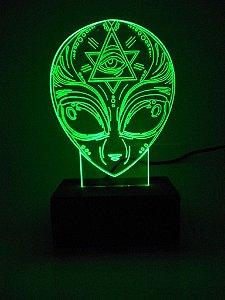 Luminária de Mesa Led Acrílico ET Alienígena Bivolt Verde