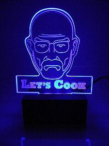 Luminária de Mesa Led Acrílico Breaking Bad Bivolt Azul
