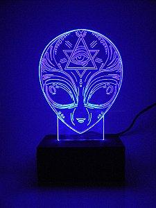 Luminária de Mesa Led Acrílico ET Alienígena Bivolt Azul