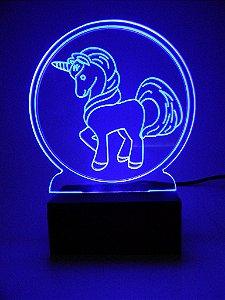 Luminária de Mesa Led Acrílico Unicórnio Bivolt Azul