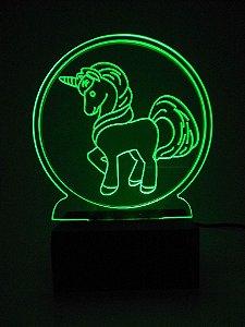 Luminária de Mesa Led Acrílico Unicórnio Bivolt Verde