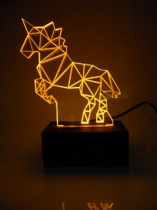 Luminária de Mesa Led Acrílico Unicórnio 3D Bivolt Amarelo