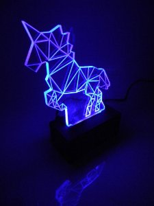 Luminária de Mesa Led Acrílico Unicórnio 3D Bivolt Azul