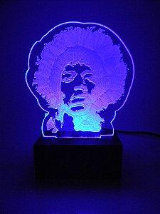 Luminária de Mesa Led Acrílico Jimmy Hendrix Bivolt Azul