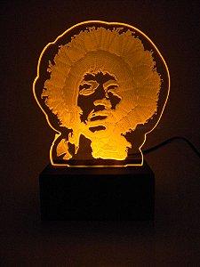 Luminária de Mesa Led Acrílico Jimmy Hendrix Bivolt Amarelo