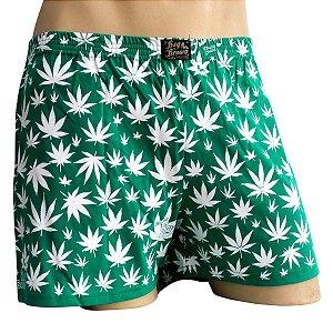Cueca Samba Canção Cannabis Verde e Branco Ray Brown