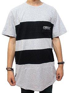 Camiseta Chronic 420 Cinza Mescla Listrada Barra Redonda
