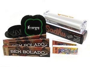 Kit 3 Sedas Bem Bolado Brown + 2 Piteiras Slim + Bolador + Dichavador Kings