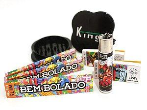 Kit 3 Sedas Bem Bolado + 2 Piteiras + Dichavador Kings Grande + Isqueiro recarregável Clipper