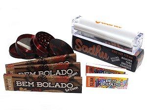 Kit 3 Sedas Bem Bolado Brown + 2 Piteiras Slim + Dichavador de metal 4 partes + Bolador