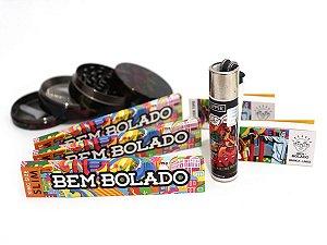 Kit 3 Sedas Bem Bolado + 2 Piteiras + Dichavador de metal 4 partes + Isqueiro recarregável Clipper