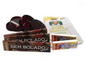 Kit 3 Sedas Bem Bolado Brown + 2 Piteiras Slim + Dichavador de metal 4 partes + Blunt