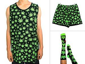 Kit Regata Cannabis + Samba Canção + Meia