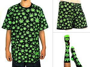 Kit Camiseta Cannabis Preta + Samba Canção + Meia