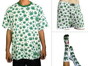 Kit Camiseta Cannabis Branca + Samba Canção + Meia