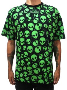 Camiseta ET Brisado Alien Preto e Verde Ray Brown