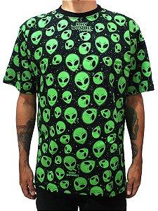 Camiseta ET Brisado Alien Preto e Verde Ray Brown