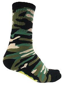 Meia Gnarly Foot Cano Alto Camuflada Verde e Preto
