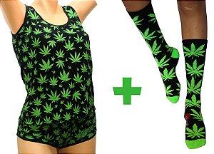 Pijama Feminino Cannabis Preto Completo Regata e Short + Meia