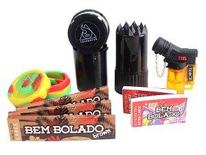 Kit 3 Sedas Bem Bolado Brown + 2 Piteiras Extra Large + Isqueiro + Pot grinder + Slick