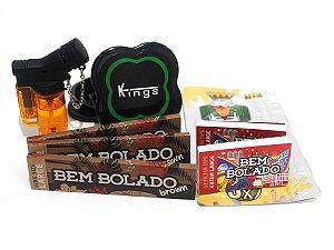 Kit 3 Sedas Bem Bolado Brown + 2 Piteiras Extra Large + Isqueiro + Dichavador + Blutnt