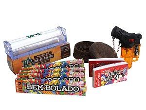 Kit 4 Sedas Bem Bolado + 2 Piteiras Extra Large + Isqueiro + Dichavador + Bolador