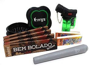 Kit 4 Sedas Bem Bolado + 2 Piteiras Slim + Mocó SDF + Isqueiro + Dichavador Kings