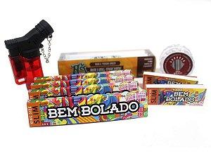 Kit 4 Sedas Bem Bolado + 2 Piteiras Slim + Dichavador + Isqueiro + Bolador