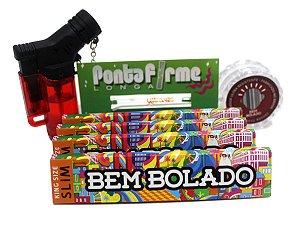 Kit 4 Sedas Bem Bolado + Piteira Vidro Longa + Dichavador + Isqueiro