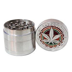 Dichavador de Metal 4 partes Cannabis Reggae Prata 4cm