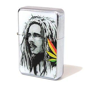 Isqueiro tipo Zippo Bob Marley Cannabis Recarregável Fluído