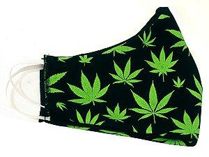 Máscara de Algodão Cannabis Lavável Ray Brown Preto e Verde