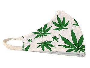 Máscara de Algodão Cannabis Lavável Ray Brown Branco e Verde