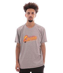 Camiseta Chronic 420 Fogo Babilônia Cinza Mescla Catch Fire