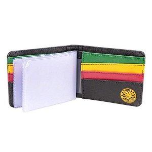 Carteira Chronic 420 Leão Reggae Preta  Sintético Bolso