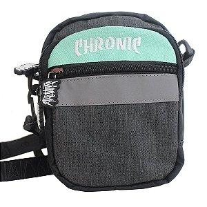 Shoulder Bag Chronic 420 Refletiva Verde Água 3 Bolsos Ombro