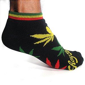 Meia Cannabis Soquete Maconha Reggae Roots Preta Ray Brown
